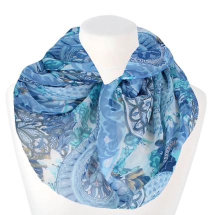 SCH-1514c Damen Loopschal Blumen & Mandala weiss blau türkis