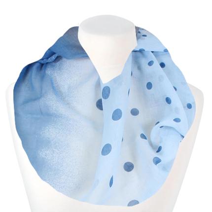 SCH-1520d Damen Loopschal Punkte hellblau blau grau
