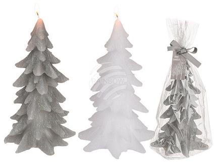 960295 Kerze, Tannenbaum mit Glitter, ca. 10 x 18 cm, 2-farbig sortiert (9 x weiß, 3 x grau) im Polybeutel mit Geschenkband, 432/PAL