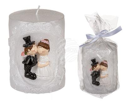 719144 Weiße Kerze, Brautpaar, ca. 7 x 9,5 cm, im Polybeutel mit Geschenkband, 1440/PAL