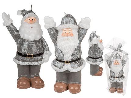 960318 Silberfarbene Kerze, Weihnachtsmann, ca. 8,5 x 14,5 cm, 2-fach sortiert, im Polybeutel mit Geschenkband, 720/PAL