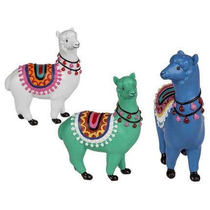 144207 Polyresin Lama, ca. 9 x 7 cm, 3-fach & 3-farbig sortiert (12 x weiß, 6 x grün, 6 x blau)
