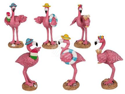 144243 Polyresin-Flamingo, ca. 13 x 5 cm, 3-fach sortiert, 768/PAL