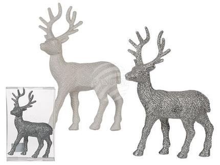 960321 Kunststoff-Rentiere mit Glitter, ca. 14,5 x 22 cm, 2 farbig sortiert, in PVC-Box, 432/PAL