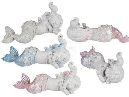 78-5847 Schlafende Polyresin-Meerjungfrau mit Glitter ca. 16,5 x 6,5 cm, 4-fach sortiert