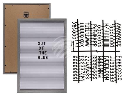 94-2612 Holzrahmen mit Textilsteckfeld für Buchstaben & Zahlen, ca. 30 x 45 cm, inkl. 145 Buchstaben & Zahlen