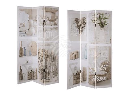 810283 Paravent, Home Sweet Home, Leinen auf Holzrahmen, ca. 180 x 120 cm, 19/PAL