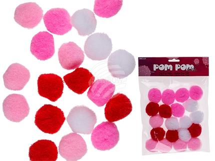 230008 Pom Pom Bälle, D: ca. 3 cm, 3-farbig sortiert, 20er Set im Polybeutel mit Headercard, 2304/PAL