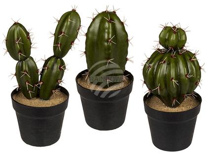 121104 Deko-Kaktus im Plastik-Topf, ca. 8 x 18 cm, 3-fach sortiert