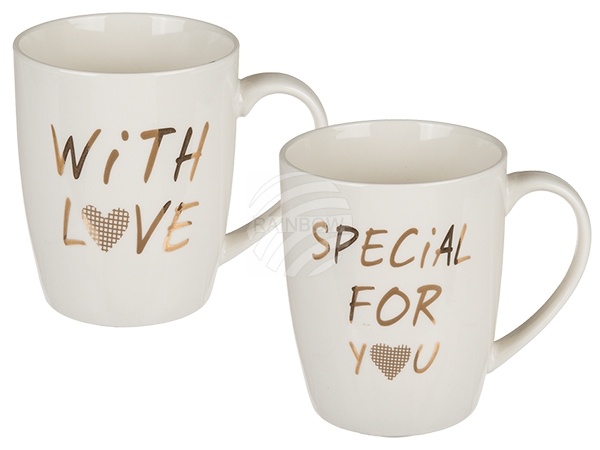 101725 New Bone China-Becher, With Love & Special for you, ca. 10 x 8 cm, 2-fach sortiert