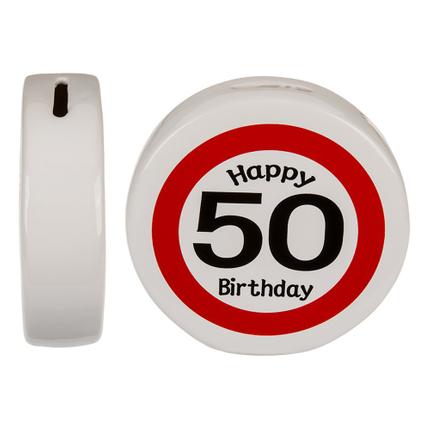 101467 Keramik-Spardose mit Happy Birthday - 50, ca. 13,5 x 4 cm, 792/PAL