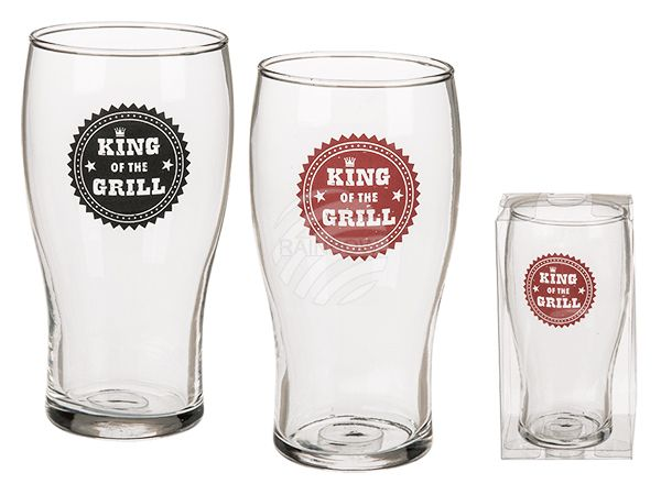 78-7937 Bierglas, King of the Grill, 2-farbig sortiert, für ca. 540 ml, H: ca. 16 cm, in PVC-Box, 768/PAL