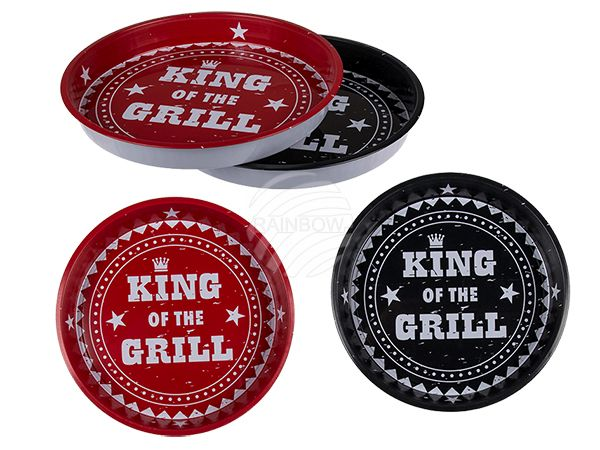 71-2110 Metall-Tablett, King of the Grill, D: ca. 33 cm, 2-fach sortiert