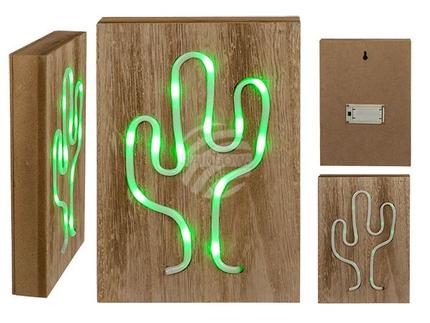 220378 Grüne Neon-Leuchte in Holzbox, Kaktus, ca. 24 x 17 cm, für 2 Mignon Batterien (AAA) in Geschenkbox, 384/PAL