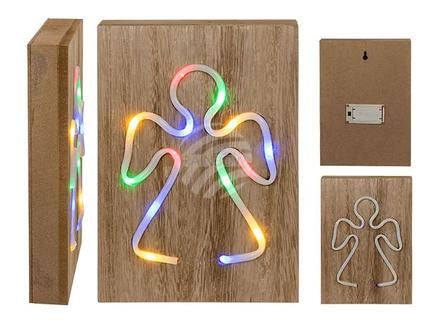 960098 Bunte Neon-Leuchte, Engel, auf Holzbox, ca. 24 x 17 cm, für 2 Mignon Batterien (AAA) in Geschenkbox, 384/PAL