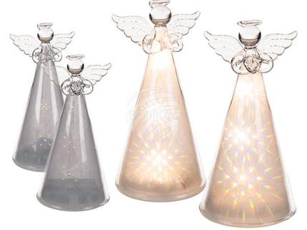 960346 Glas-Engel mit Regenbogenfarben & 3 warmweißen LED, 2-fach sortiert, ca. 7 x 14,5 cm, für 3 Micro Batterien (AAA) in PVC-Box, 288/PAL