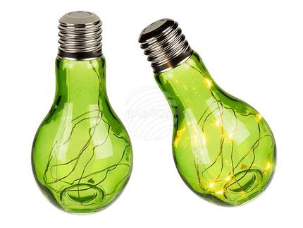 260057 Grüne Glas-Glühbirne, mit 10 LED (inkl. Batterie) ca. 18 x 9 cm