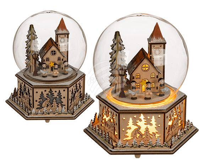 960342 Naturfarbenes Holz-Winterdorf in Glaskugel mit Weihnachtsmusik & warmweißer LED, ca. 19 x 16 cm, für 2 Micro Batterien (AAA), 84/PAL