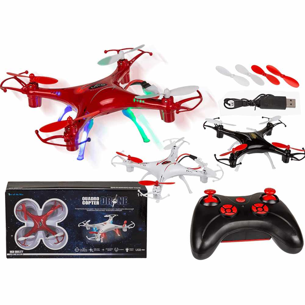 60-1152 Ferngesteuerter Quadrocopter, Drone, mit 4 LED, ca. 11 cm, 3-farbig sortiert, inkl. Akku & USB-Kabel, für 4 Mignon Batterien (AA), 216/PAL