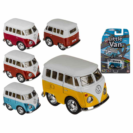 56-0024 Modellauto mit Rückziehmotor, VW Mini Bus, aus Kunststoff mit Metall, ca. 5 cm, 4-farbig sortiert, auf Blisterkarte, 3600/PAL