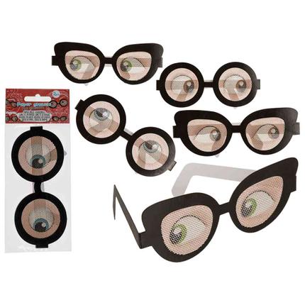 181111 Papier-Scherzbrille, 2-fach & 2-farbig sortiert, 2er Set im Polybeutel mit Heardercard, 13440/PAL