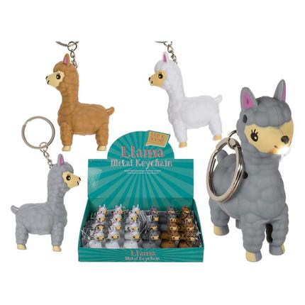 57-9729 Metall-Schlüsselanhänger, Kunststoff-Lama mit Sound & LED (inkl. Batterien) ca. 7 cm, 24 Stück im Display