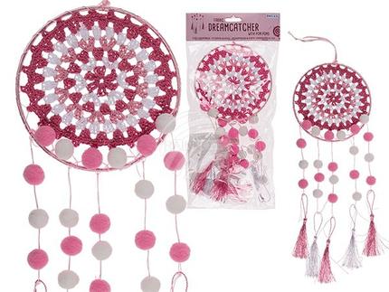 260146 Pinkfarbener Stoff-Traumfänger mit Pom Pom, ca. 15 x 40 cm, im Polybeutel mit Headercard, 2160/PAL