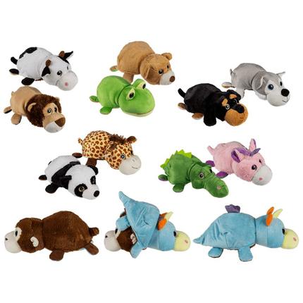 61-6898 Plüsch-Tiere zum Krempeln, Zootiere, ca. 36 cm, 6-fach sortiert