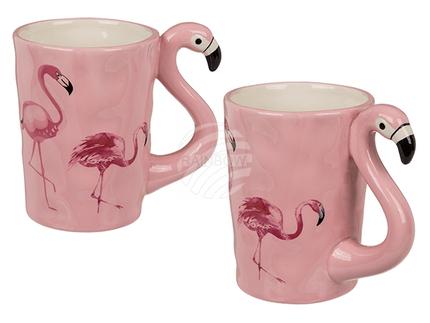 78-8283 Keramik-Becher mit Flamingo-Griff, ca. 11 x 9 cm