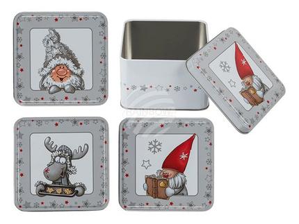 946241 Metall-Dose, Weihnachten, ca. 10,5 x 10,5 x 6 cm, 3-fach sortiert