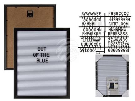 94-2600 Buchstabentafel, ca. 28 x 35 cm mit Kunststoffrahmen & Kunststofftafel, inkl. 145 Buchstaben & Zahlen