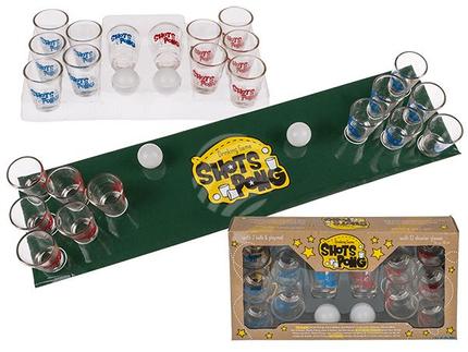 93-2087 Trinkspiel, Shots Pong, mit 2 Bällen, Spielfeld & 12 Shooter-Gläsern, für ca. 60 ml, 288/PAL