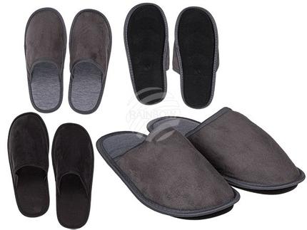 02-5103 Herren-Hausschuhe, Black & Grey, 100% Polyester, 3 Doppelgrößen (41/42, 43/44, 45/46) 2-farbig sortiert, zum Aufhängen, 384/PAL