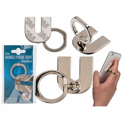 24-1231 Metall-Fingerhalterung fürs Handy, Buchstabe U, zum Ankleben, 14208/PAL