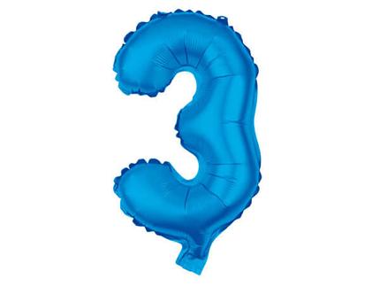 BAL-103  Folienballon Helium Ballon blau Zahl 3 ca. 80 cm