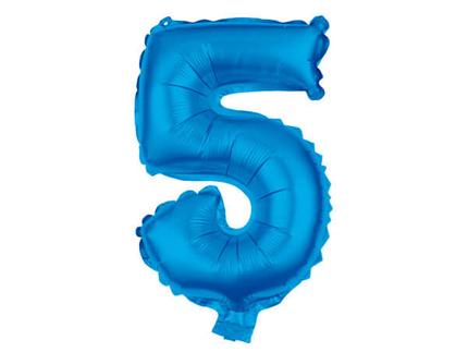 BAL-105  Folienballon Helium Ballon blau Zahl 5 ca. 80 cm