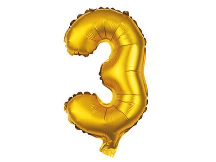BAL-113  Folienballon Helium Ballon gold Zahl 3 ca. 80 cm