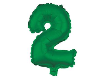 BAL-122  Folienballon Helium Ballon grün Zahl 2 ca. 80 cm