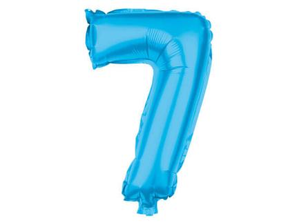 BAL-167  Folienballon Helium Ballon türkis Zahl 7 ca. 80 cm