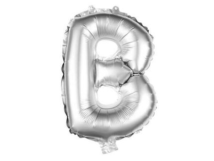 BAL-197  Folienballon Helium Ballon silber Buchstabe B ca. 80 cm
