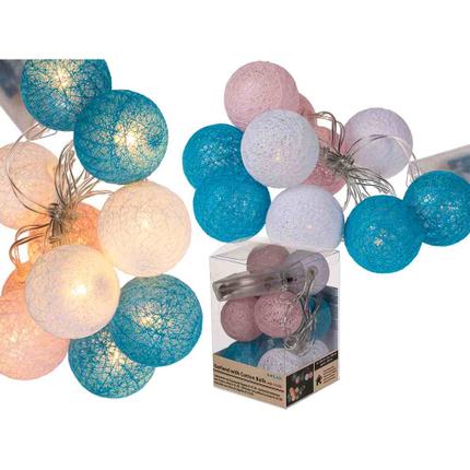 260035 Lichterkette mit rosa, weißen & blauen Baumwoll-Kugeln & 10 LED, ca. 4 cm, L: ca.1,60 m, für 2 Mignon Batterien (AA) in PVC-Box, nur für den Innenbereich geeignet, 864/PAL