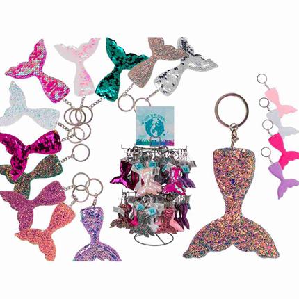 230058 Metall-Schlüsselanhänger, Meerjungfrau mit Pailletten & Glitter, 12-farbig sortiert, 72 Stück auf Display, 2592/PAL