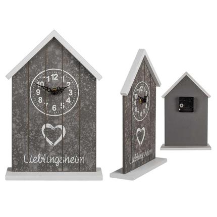 144271 Holz-Uhr, Lieblingsheim, ca. 18,5 x 28,5 cm, für 1 Mignon Batterie (AA), 480/PAL