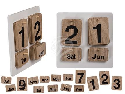 144276 Naturfarbener Holz-Kalender, ca. 17 x 17 cm, White, Nature & Black, 576/PAL
