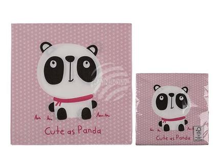 145239 Rosa Papier-Servietten, Panda, ca. 33 x 33 cm, 3-lagig, 20 Stück im Polybeutel, 1680/PAL