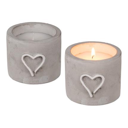 100777 Weiße Kerze im Zement Topf mit Herz, ca. 9 x 7,5 cm, 1008/PAL