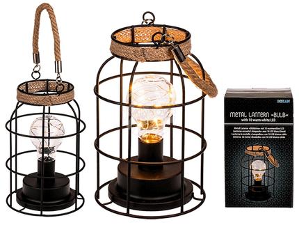 260116 Metall-Laterne mit Glühlampe & 10 warmweißen LED, ca. 12,5 x 20 cm, für 3 Mignon Batterien (AA) in Geschenkbox, 216/PAL