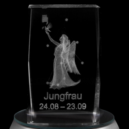 KQ-st06 Kristall Quader Motiv: Jungfrau Farbe: klar – Bild 2