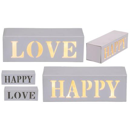 220335 Leuchte in Holzbox mit warmweßer LED, Love & Happy sortiert, ca. 15 x 5 cm, für 2 Mignon Batterien (AA) in PVC-Box, 1440/PAL