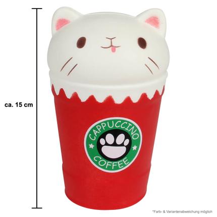 SQ-236 Squishy Squeeze Cappuccino Katze rot ca. 15 cm